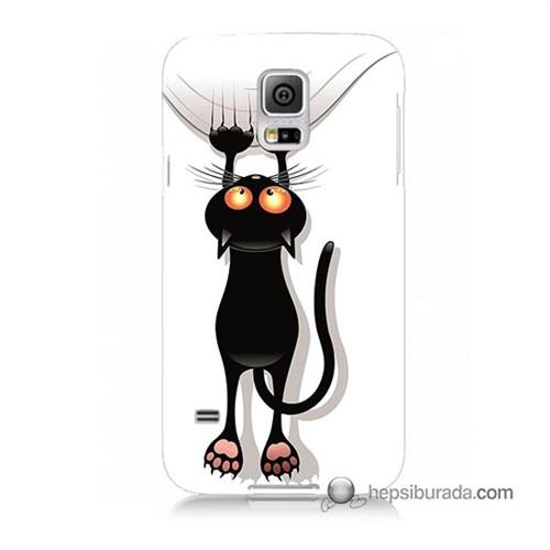 Teknomeg Samsung Galaxy S5 Mini Kılıf Kapak Kara Kedi Baskılı Silikon