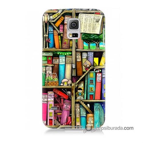 Teknomeg Samsung Galaxy S5 Mini Kapak Kılıf Kitaplık Baskılı Silikon