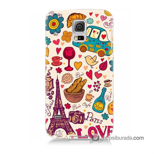 Teknomeg Samsung Galaxy S5 Mini Kapak Kılıf Paris Love Baskılı Silikon