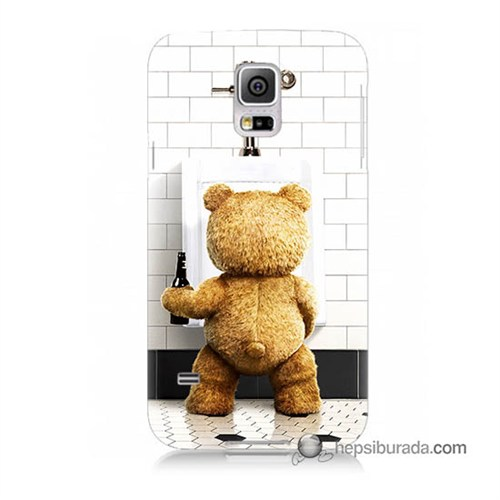 Teknomeg Samsung Galaxy S5 Mini Kılıf Kapak Tedy Bear Baskılı Silikon