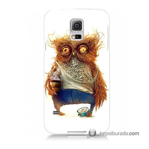 Teknomeg Samsung Galaxy S5 Mini Kapak Kılıf Miskin Baykuş Baskılı Silikon