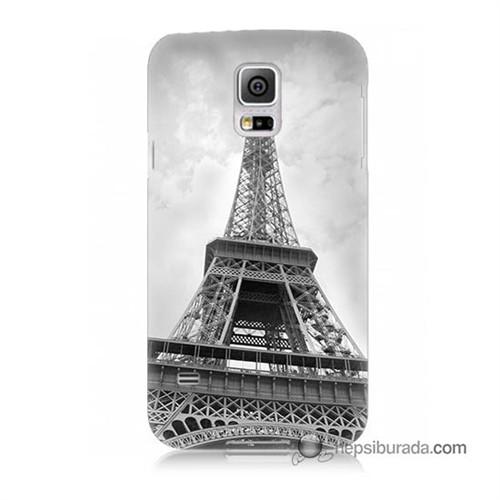 Teknomeg Samsung Galaxy S5 Mini Kapak Kılıf Eyfel Kulesi Baskılı Silikon