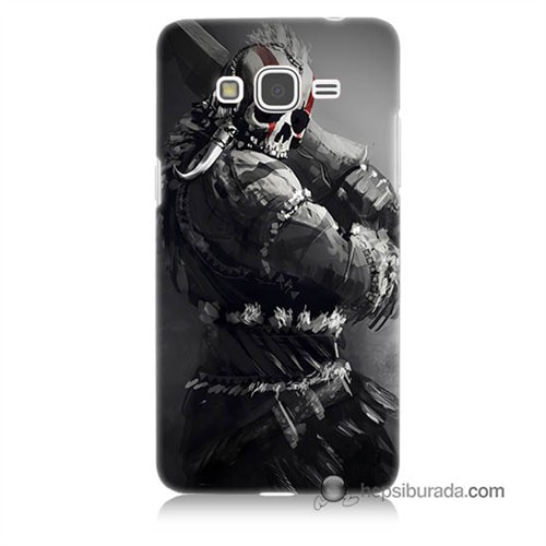 Teknomeg Samsung Galaxy Grand Prime Kılıf Kapak Tribal Warrior Baskılı Silikon