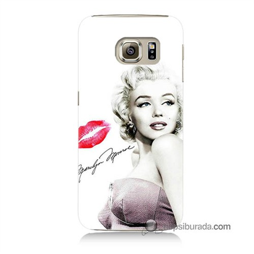 Teknomeg Samsung Galaxy S6 Kapak Kılıf Marilyn Monroe Baskılı Silikon