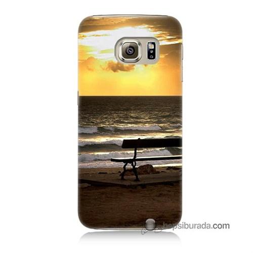 Teknomeg Samsung Galaxy S6 Kılıf Kapak Gün Batımı Baskılı Silikon