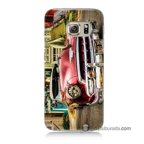 Teknomeg Samsung Galaxy S6 Kapak Kılıf Klasik Araba Baskılı Silikon
