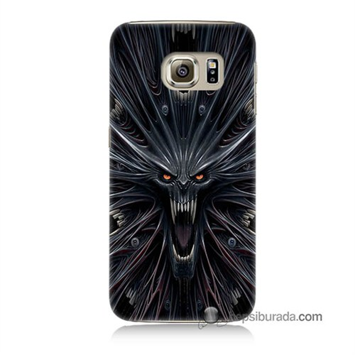 Teknomeg Samsung Galaxy S6 Kılıf Kapak Korku Canavarı Baskılı Silikon