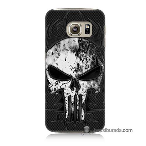 Teknomeg Samsung Galaxy S6 Kapak Kılıf Punnisher Kurukafa Baskılı Silikon