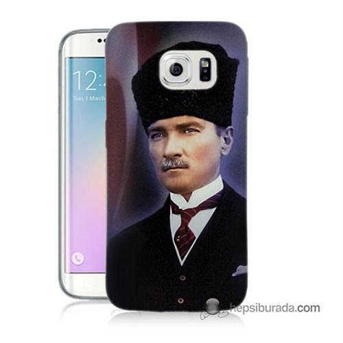 Teknomeg Samsung Galaxy S6 Edge Plus Kılıf Kapak Mustafa Kemal Atatürk Baskılı Silikon