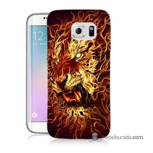 Teknomeg Samsung Galaxy S6 Edge Plus Kılıf Kapak Ateşli Aslan Baskılı Silikon