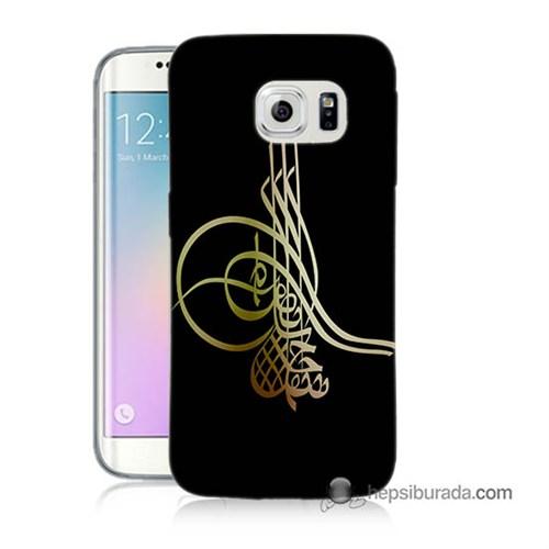 Teknomeg Samsung Galaxy S6 Edge Plus Kılıf Kapak Tuğra Osmanlı Baskılı Silikon