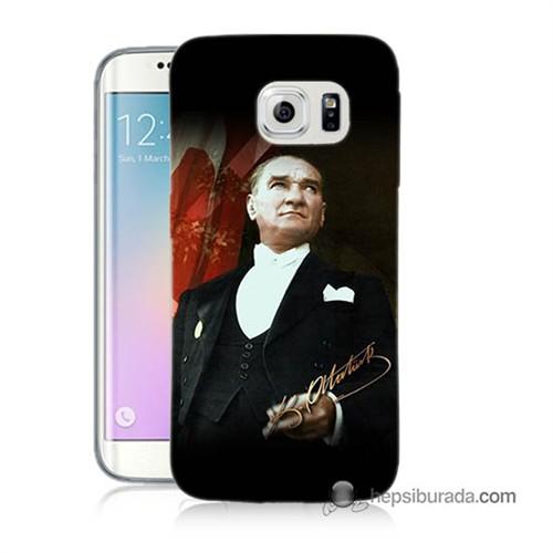 Teknomeg Samsung Galaxy S6 Edge Plus Kapak Kılıf M.K.Atatürk Baskılı Silikon