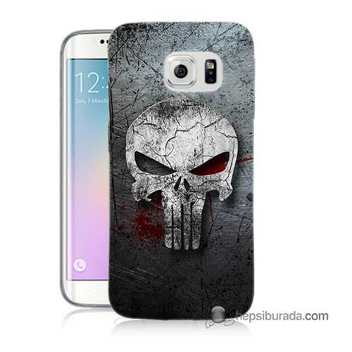 Teknomeg Samsung Galaxy S6 Edge Plus Kılıf Kapak Punnisher Kurukafa Baskılı Silikon
