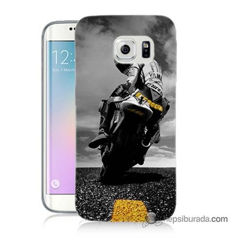 Teknomeg Samsung Galaxy S6 Edge Plus Kapak Kılıf Motorsiklet Baskılı Silikon