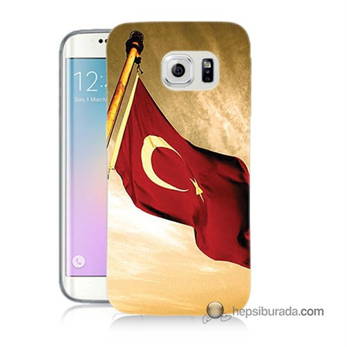 Teknomeg Samsung Galaxy S6 Edge Plus Kılıf Kapak Türk Bayrağı Baskılı Silikon