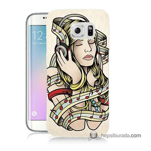 Teknomeg Samsung Galaxy S6 Edge Plus Kapak Kılıf Müzik Aşkı Baskılı Silikon