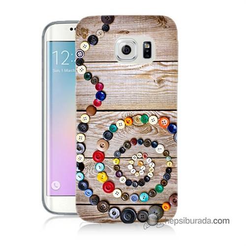 Teknomeg Samsung Galaxy S6 Edge Plus Kapak Kılıf Düğmeler Baskılı Silikon