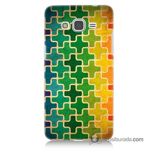 Teknomeg Samsung Galaxy Grand Prime Kapak Kılıf Renkli Artı Baskılı Silikon