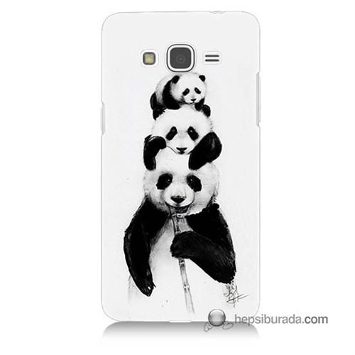 Teknomeg Samsung Galaxy Grand Prime Kapak Kılıf Panda Ailesi Baskılı Silikon
