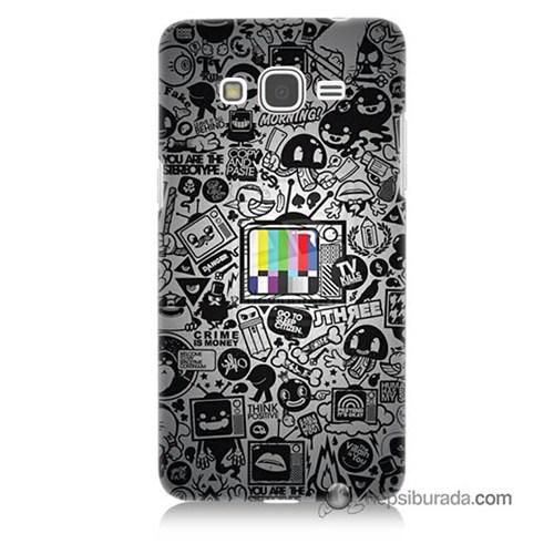 Teknomeg Samsung Galaxy Grand Prime Kapak Kılıf Renkli Tv Baskılı Silikon