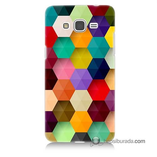 Teknomeg Samsung Galaxy Grand Prime Kapak Kılıf Renkli Petek Baskılı Silikon