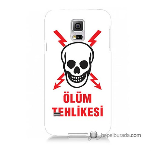 Teknomeg Samsung Galaxy S5 Kapak Kılıf Ölüm Tehlikesi Baskılı Silikon