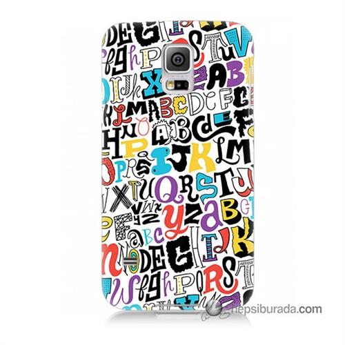 Teknomeg Samsung Galaxy S5 Kılıf Kapak Renkli Harfler Baskılı Silikon