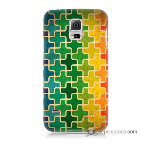 Teknomeg Samsung Galaxy S5 Kapak Kılıf Renkli Artı Baskılı Silikon