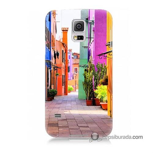 Teknomeg Samsung Galaxy S5 Kılıf Kapak Sokak Baskılı Silikon