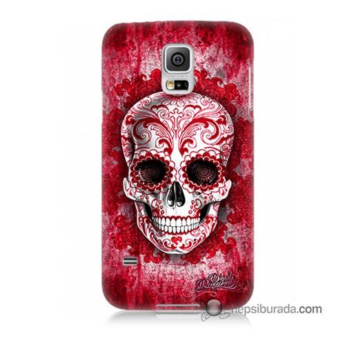 Teknomeg Samsung Galaxy S5 Kılıf Kapak Kırmızı İskelet Baskılı Silikon