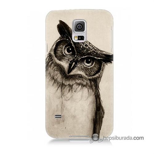 Teknomeg Samsung Galaxy S5 Kılıf Kapak Düşünen Baykuş Baskılı Silikon