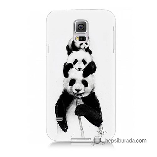Teknomeg Samsung Galaxy S5 Kapak Kılıf Panda Ailesi Baskılı Silikon