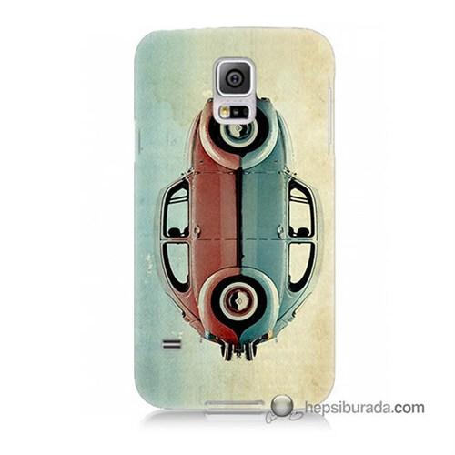 Teknomeg Samsung Galaxy S5 Kılıf Kapak Mavi Kırmızı Wolkswagen Baskılı Silikon