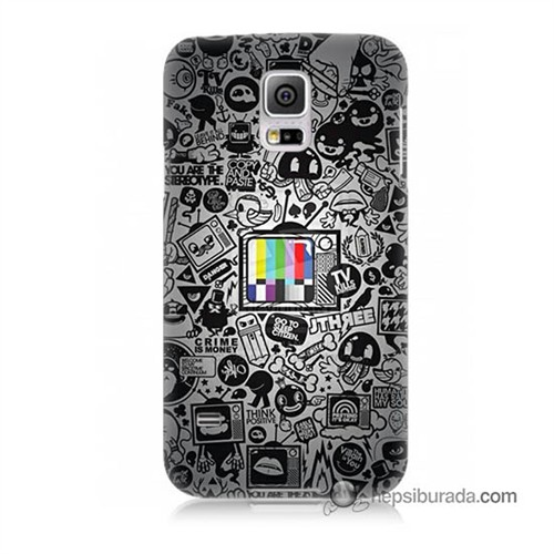 Teknomeg Samsung Galaxy S5 Kapak Kılıf Renkli Tv Baskılı Silikon