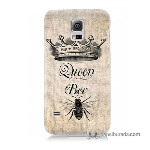 Teknomeg Samsung Galaxy S5 Kılıf Kapak Queen Bee Baskılı Silikon