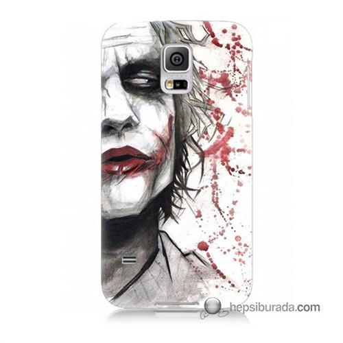 Teknomeg Samsung Galaxy S5 Kapak Kılıf Kanlı Joker Baskılı Silikon