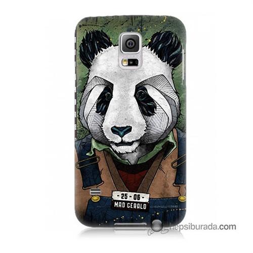 Teknomeg Samsung Galaxy S5 Kapak Kılıf İşçi Panda Baskılı Silikon