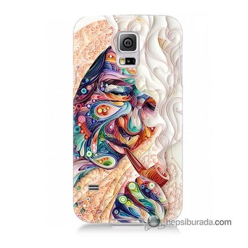 Teknomeg Samsung Galaxy S5 Kılıf Kapak Kağıt Sanatı Baskılı Silikon