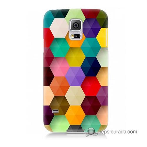 Teknomeg Samsung Galaxy S5 Kapak Kılıf Renkli Petek Baskılı Silikon