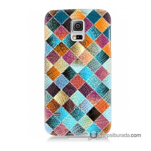 Teknomeg Samsung Galaxy S5 Kılıf Kapak Kırkyama Baskılı Silikon
