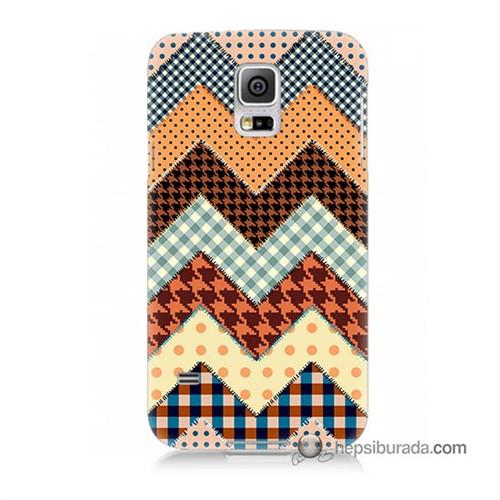 Teknomeg Samsung Galaxy S5 Kapak Kılıf Patchwork Baskılı Silikon