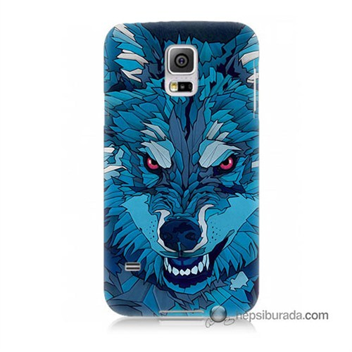 Teknomeg Samsung Galaxy S5 Kılıf Kapak Mavi Kurt Baskılı Silikon