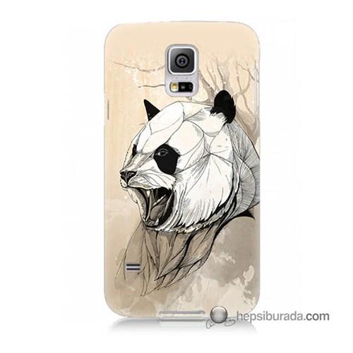 Teknomeg Samsung Galaxy S5 Kapak Kılıf Kavgacı Panda Baskılı Silikon