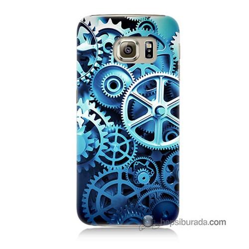 Teknomeg Samsung Galaxy S6 Kapak Kılıf Çarklar Baskılı Silikon