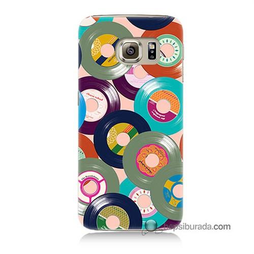 Teknomeg Samsung Galaxy S6 Kapak Kılıf Renkli Plaklar Baskılı Silikon