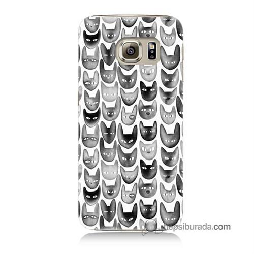 Teknomeg Samsung Galaxy S6 Kapak Kılıf Kediler Baskılı Silikon