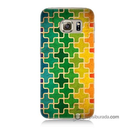 Teknomeg Samsung Galaxy S6 Kapak Kılıf Renkli Artı Baskılı Silikon