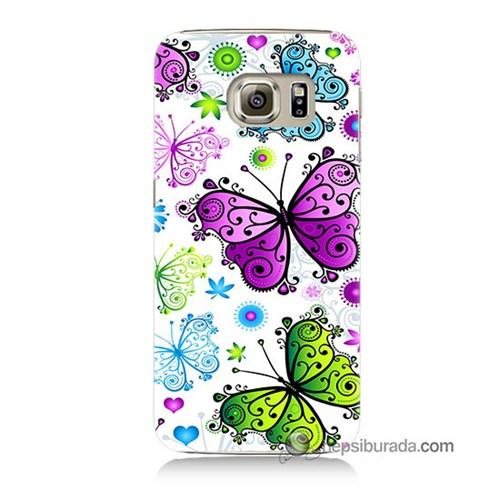 Teknomeg Samsung Galaxy S6 Kapak Kılıf Renkli Kelebekler Baskılı Silikon