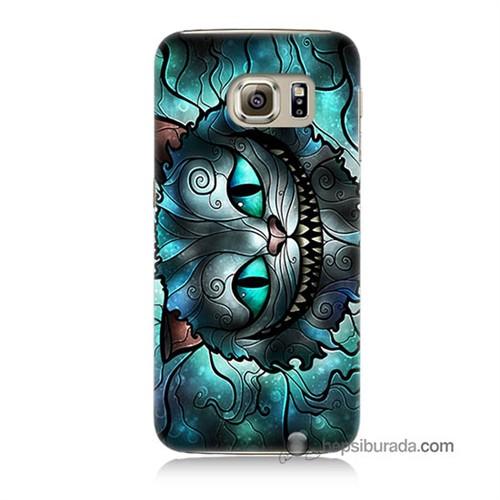 Teknomeg Samsung Galaxy S6 Kapak Kılıf Alice Kedi Baskılı Silikon