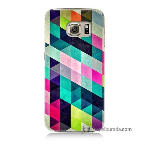 Teknomeg Samsung Galaxy S6 Kılıf Kapak Mozaikler Baskılı Silikon